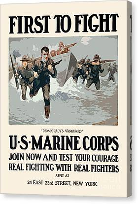 Marines - First To Fight Canvas Print by God and Country Prints