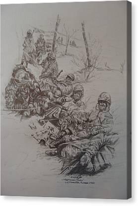 Chesty Puller Canvas Print - Marines In Korea by Fabio Cedeno