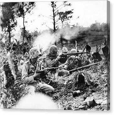 Medium Group Of People Canvas Print - Marines In Okinawa by Underwood Archives