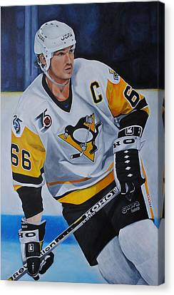 Canvas Print featuring the painting Mario Lemieux by David Dunne