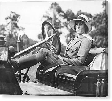 Marion Gaynor At The Wheel Canvas Print by Underwood Archives