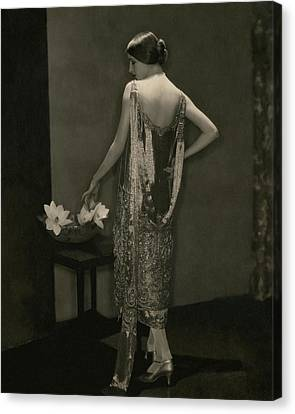 Marion Morehouse Wearing A Chanel Dress Canvas Print by Edward Steichen