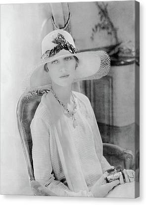 Marion Morehouse Wearing A Lanvin Straw Hat Canvas Print
