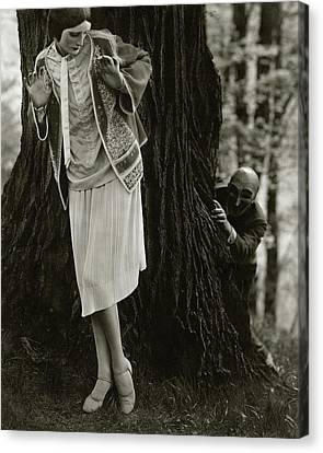 Marion Morehouse With A Man Behind A Tree Canvas Print by Edward Steichen