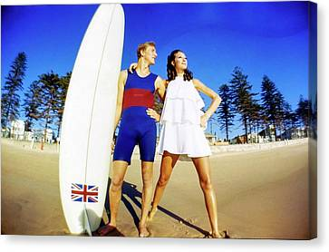 Marisa Berenson And Surfer Nat Young Canvas Print