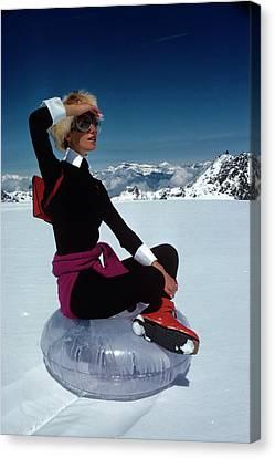 Marisa Berenson In The Snow Canvas Print
