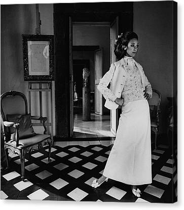 Full Skirt Canvas Print - Marisa Berenson Wearing A Cotton Forneris Evening by Henry Clarke