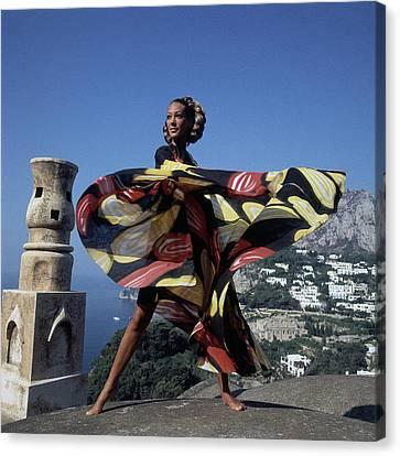 Marisa Berenson Wearing A 'whirligig' Print Toga Canvas Print