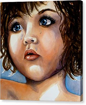 Silver-filled Canvas Print - Crying Blue Eyes by Michal Madison