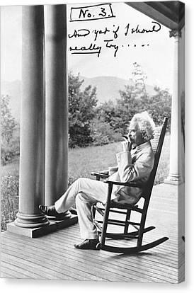 Mark Twain On A Porch Canvas Print
