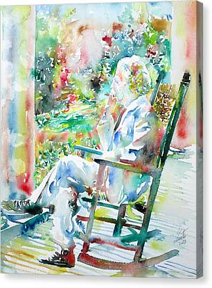 Mark Twain Sitting And Smoking A Cigar - Watercolor Portrait Canvas Print by Fabrizio Cassetta