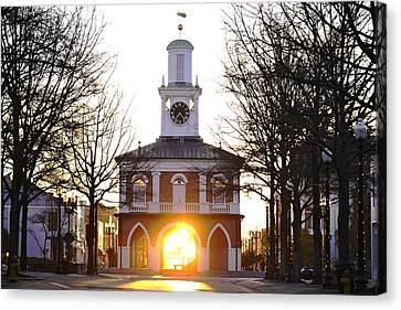 Market House Sunrise - Fayetteville - January 29 2015 Canvas Print by Matt Plyler