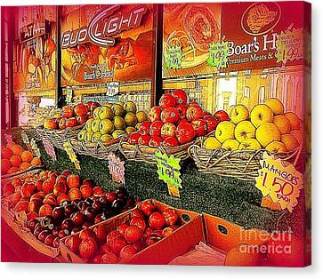 Canvas Print featuring the photograph Apples And Plums In Red - Outdoor Markets Of New York City by Miriam Danar