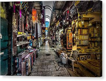 Market In The Old City Of Jerusalem Canvas Print by David Morefield