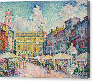 Market Of Verona Canvas Print by Paul Signac