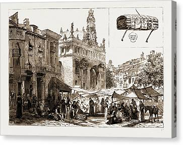 Market Place And Church Of San Juanes, Valencia Canvas Print
