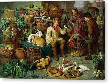 Market Scene Canvas Print by Henry Charles Bryant