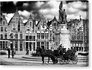 Market Square In Bruges Canvas Print