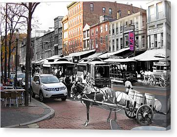 Market Street In Old City Canvas Print