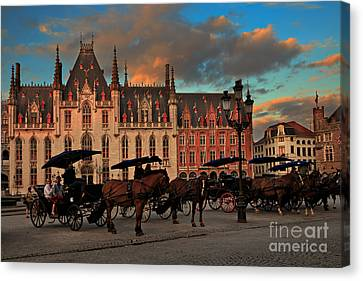 Markt Square At Dusk In Bruges Canvas Print by Louise Heusinkveld