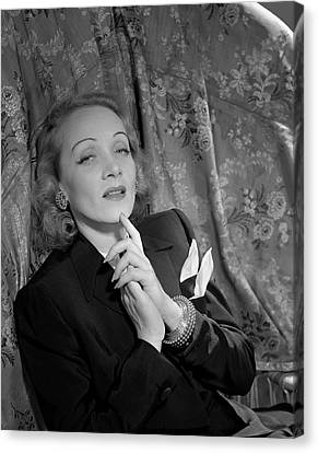 Chin On Hand Canvas Print - Marlene Dietrich Wearing A Suit Jacket by Horst P. Horst
