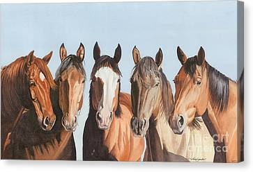 Bay Horse Canvas Print - Marlene's Girls by Tina  Sander