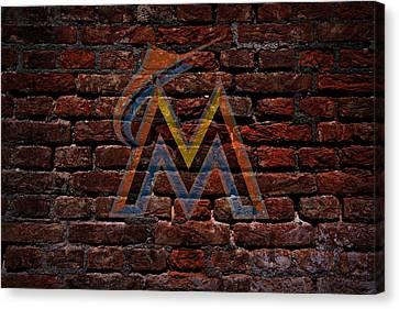 Centerfield Canvas Print - Marlins Baseball Graffiti On Brick  by Movie Poster Prints