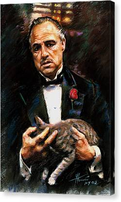 Canvas Print featuring the drawing Marlon Brando The Godfather by Viola El