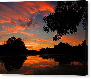 Marlu Lake At Sunset Canvas Print by Raymond Salani III