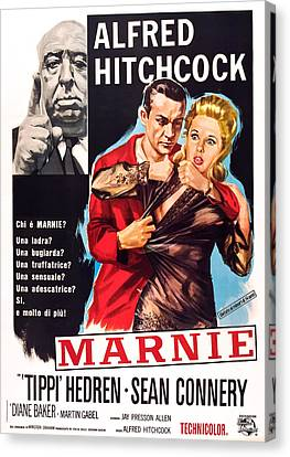 Films By Alfred Hitchcock Canvas Print - Marnie, L-r Alfred Hitchcock, Sean by Everett
