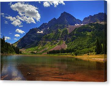 Canvas Print featuring the photograph Maroon Bells by Alan Vance Ley
