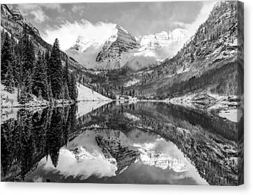 Maroon Bells Bw Covered In Snow - Aspen Colorado Canvas Print by Gregory Ballos