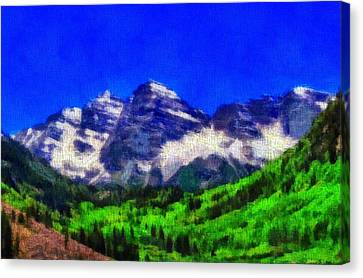 Maroon Bells Colorado Peaks On Canvas Canvas Print