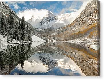 Maroon Bells Covered In Snow - Aspen Colorado Canvas Print by Gregory Ballos