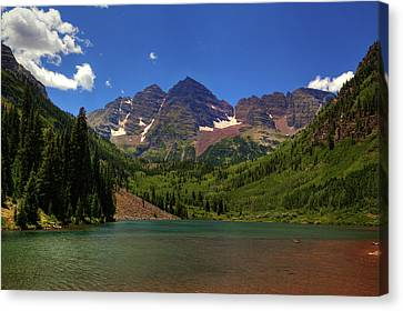Canvas Print featuring the photograph Maroon Bells From Maroon Lake by Alan Vance Ley