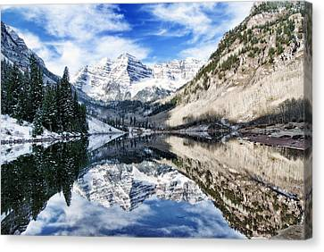 Maroon Bells In Winter 1 Canvas Print by Eneida Gastal-Keith