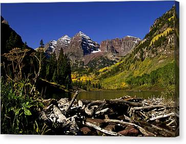 Canvas Print featuring the photograph Maroon Bells by Jeremy Rhoades