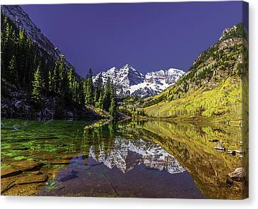 Maroon Bells Reflection Canvas Print by Chris Locke