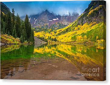 Maroon Bells Reflection Canvas Print by Inge Johnsson