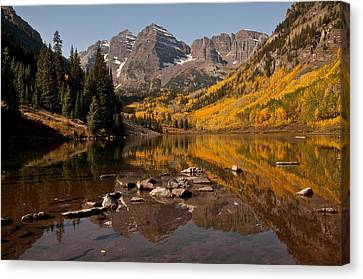 Maroon Bells Reflection Canvas Print by Lee Kirchhevel
