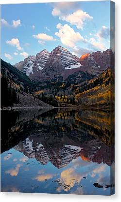 Canvas Print featuring the photograph Maroon Bells by Ronda Kimbrow