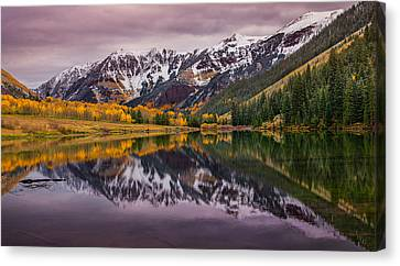 Maroon Lake Canvas Print by Darren  White