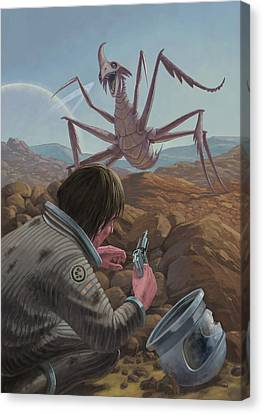 Marooned Astronaut Confronting Monster Canvas Print
