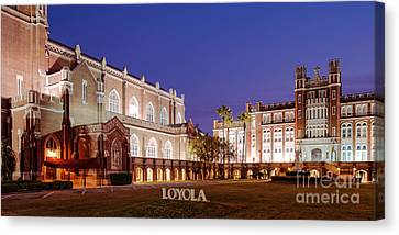 Marquette Hall And Holy Name Of Jesus Catholic Church At Loyola University New Orleans Louisiana Canvas Print
