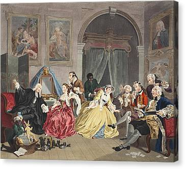 Marriage A La Mode, Plate Iv, The Canvas Print by William Hogarth