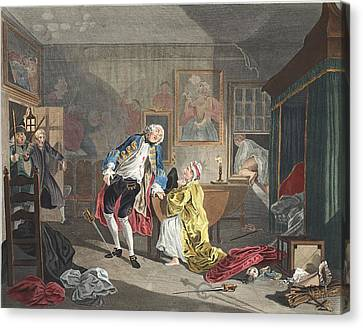 Marriage A La Mode, Plate V, The Canvas Print by William Hogarth