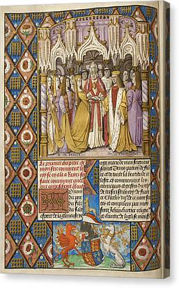 Marriage Of Henry V And Catharine Canvas Print by British Library