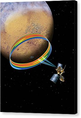 Mars Climate Sounder And Mars Canvas Print by Nasa/jpl-caltech
