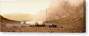 Canvas Print featuring the digital art Mars Dust Storm by Bryan Versteeg