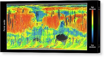 Mars Ferric Oxide Map Canvas Print by Esa/cnes/cnrs/ias/universite Paris-sud, Orsay